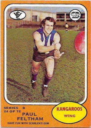 1973 B VFL Scanlens (24) Paul Feltham North Melbourne