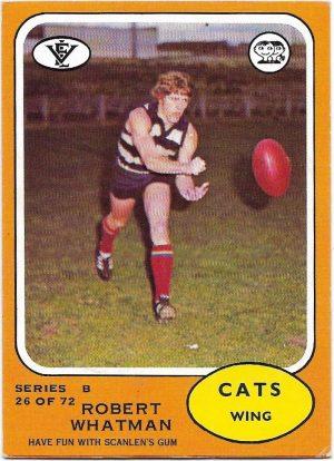 1973 B VFL Scanlens (26) Robert Whatman Geelong