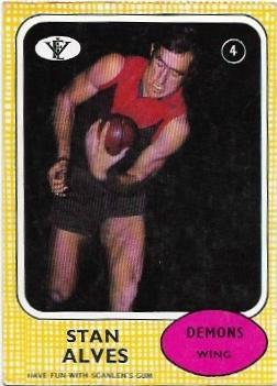 1972 VFL Scanlens (4) Stan Alves Melbourne