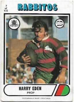 1976 Scanlens Rugby League (7) Harry Eden Rabbitohs