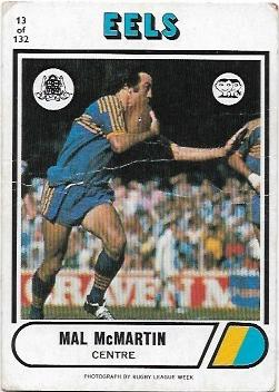 1976 Scanlens Rugby League (13) Mal McMartin Eels