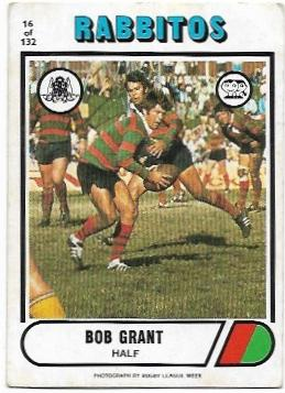 1976 Scanlens Rugby League (16) Bob Grant Rabbitohs