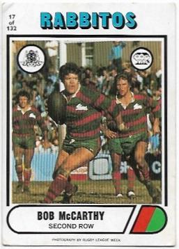 1976 Scanlens Rugby League (17) Bob McCarthy Rabbitohs