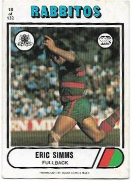 1976 Scanlens Rugby League (18) Eric Simms Rabbitohs