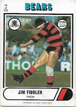 1976 Scanlens Rugby League (19) Jim Fiddler Bears
