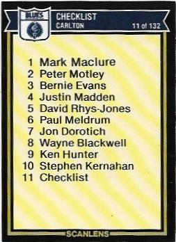 1987 Scanlens (11) Checklist Carlton – Near Mint