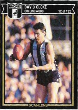 1987 Scanlens (12) David Cloke Collingwood – Near Mint