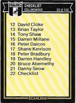 1987 Scanlens (22) Checklist Collingwood – Near Mint