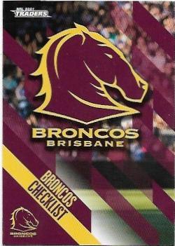 2021 Nrl Traders Base Card (001) Broncos Checklist
