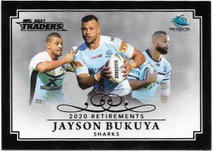 2021 Nrl Traders Retirement Parallel Case Card (RP03) Jayson BUKUYA Sharks 19/55
