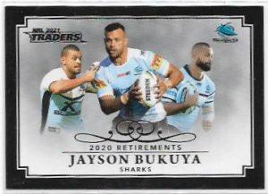 2021 Nrl Traders Retirement Parallel Case Card (RP03) Jayson BUKUYA Shark 12/55