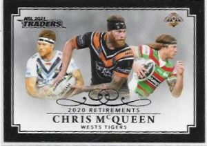 2021 Nrl Traders Retirement Parallel Case Card (RP15) Chris McQUEEN Wests Tigers 25/55